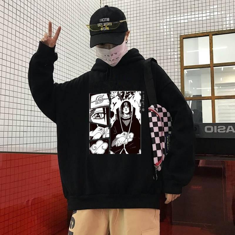 Blusão de Hip Hop com Capuz Moletom Naruto Moda Primavera Outono Pulôver Manga Comprida Streetwear 2020