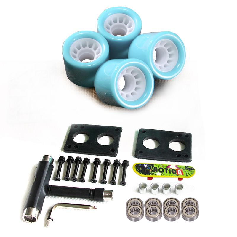 New Longboard Wheels Set 70mm 78A Colorful PU Skateboard Wheels Transparent With Riserpad And Bearing Bolts Screws