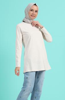 Minahill beżowa tunika 3403F-02 tanie i dobre opinie Aplikacje Bluzki i koszule Octan Dla dorosłych