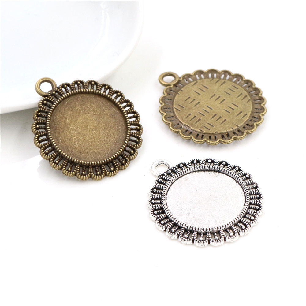 10pcs 20mm Inner Size Antique Silver Plated And Bronze Classic Flower Style Cabochon Base Setting Charms Pendant