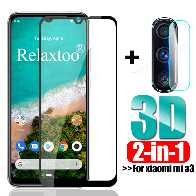2-in-1 Camera Lens Glass Mi A3 Tempered Glass For Xiaomi Mi A3 Screen Protector Xiomi Xaomi Mia3 A 3 3a Safety Protective Film