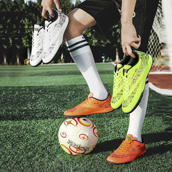 Men Football Shoes Athletic Soccer Shoes Kids Adults Soccer Cleats Training Football Sneakers Men Rubber orange shoes men PTPP|Soccer Shoes|   -