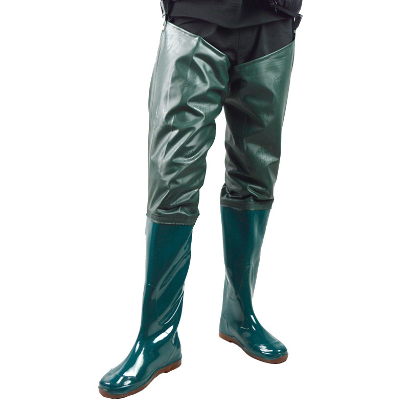 Men Women's Waterproof Wading Pants Underwater Outdoor Fishing Waders Pants PVC Water Pants Antiskid High Tube Rain Boots