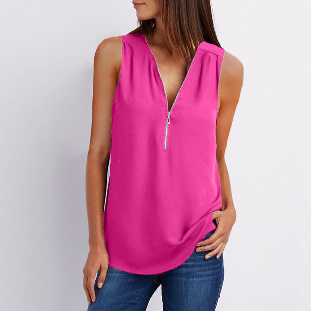 Casual Summer Top Shirt Zipper Loose 2