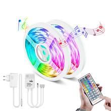 Tira de luces LED RGB DC12V, 1/2/3/4/5/10/15 M, lámpara de luz de fondo, cinta con 44 teclas de Control remoto para música, rítmico, decoración, iluminación