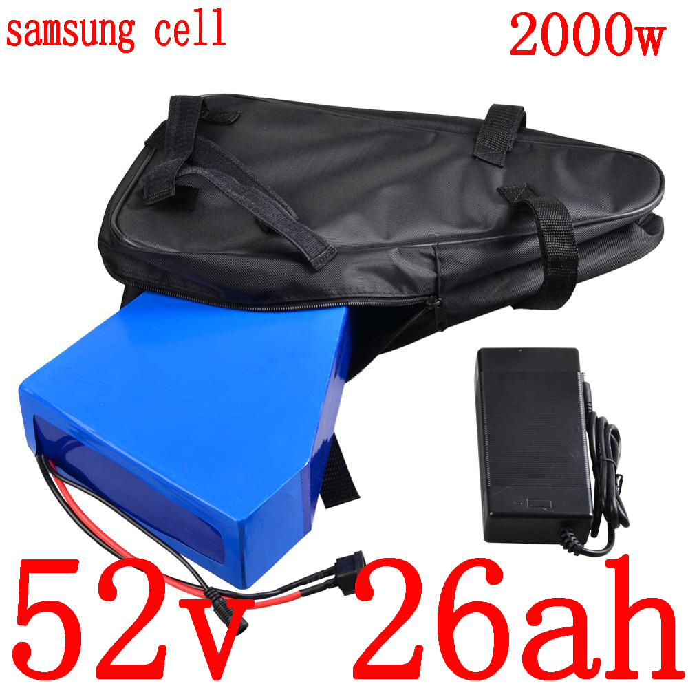 52V Lithium battery use samsung cell 52V 25AH electric bicycle battery 52V 1000W 2000W electric scooter battery with 5A charger