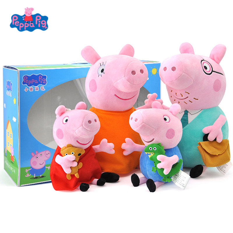 원래 peppa 돼지 조지 가족 세트 만화 동물 인형 봉제 인형 핑크 돼지 친구 가족 파티 소녀 장난감 아이 생일 선물