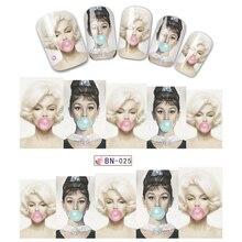 1 sayfalık sıcak satış güzellik kadın Marilyn Monroe ve Audrey Hepburn DIY su çıkartma Transfer kaymak Nail Art Sticker dekorasyon JIBN025