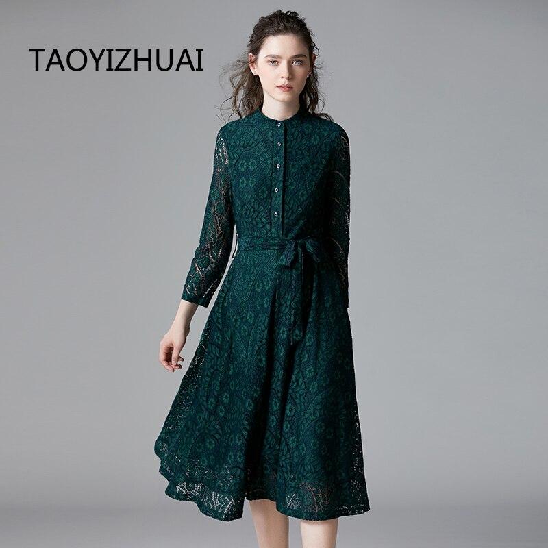 TAOYIZHUAI automne style décontracté robe pour les femmes o cou fit et flare taille haute bouton poignet genou longueur grande taille 14294