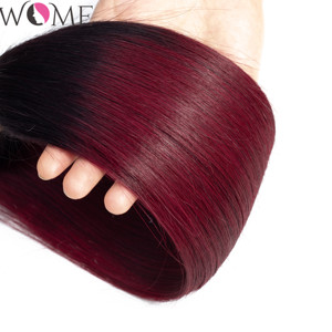 Image 5 - Kadınlar gölgeli insan saçı demetleri ile kapatma ön renkli 1b/99j brezilyalı düz saç demetleri ile kapatma iki ton olmayan remy