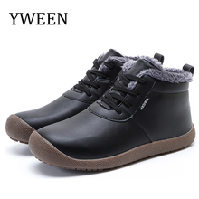 YWEEN Mens Winter Shoes Ankle Snow Boots Men For Sneakers Waterproof Plus Size Fur Flock