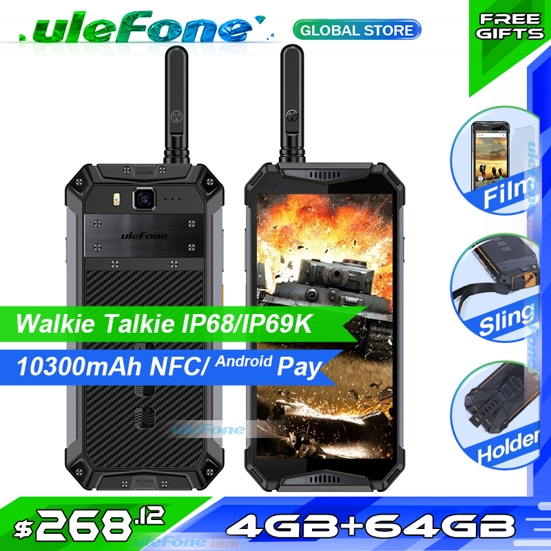 Téléphone portable talkie-walkie Ulefone Armor 3T IP68/IP69K étanche helio P23 5.7 FHD + Octa Core 4GB 64GB Smartphone