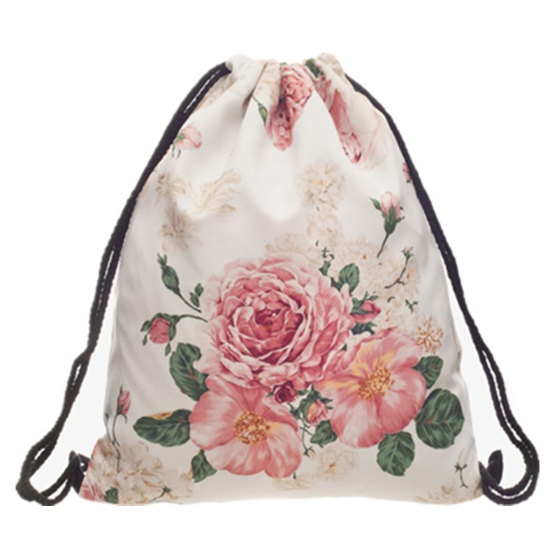 Fashion Drawstring Bag Sport Powder Pink Rose Mochila Cuerda Harajuku Drawstring Backpack Women Men Modis String Bag Girl