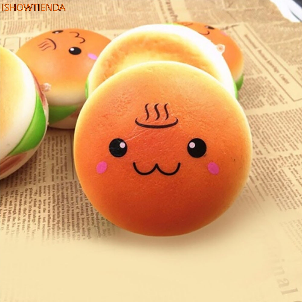 10cm Squishy Hamburger Toy Lovely Bread Bun Cellphone Bag Strap Pendant Charms Cure Squeeze Toy Stress Relief Drop Shipping