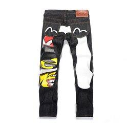 Новинка 2020 года. Оригинальные модные мужские брюки Evisu. Прямые мужские брюки с принтом. Мужские брюки со средней талией. Мужские брюки наивыс...