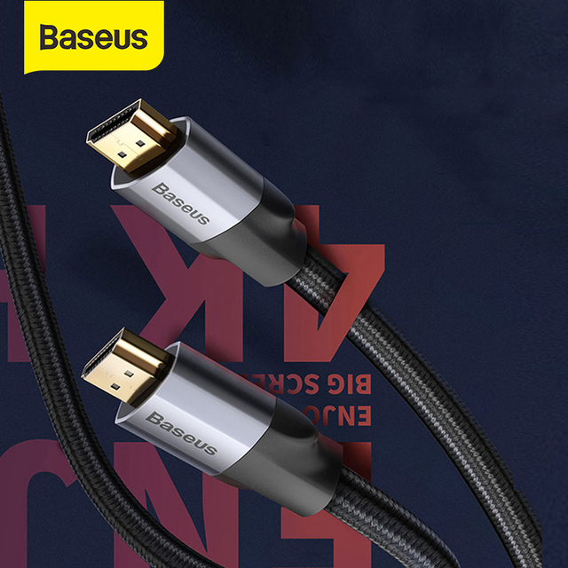 Baseus 4K HDMI To 4K HDMI Cable Same Screen HD Conversion Cable Adapter Audio and Video Syne Output Cable For Projection HD TV