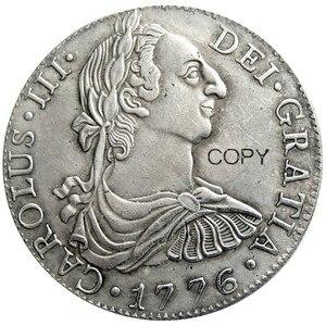 Испания 1776 CAROLUS III DEI GRATIA 8 Reales посеребренные копии монет
