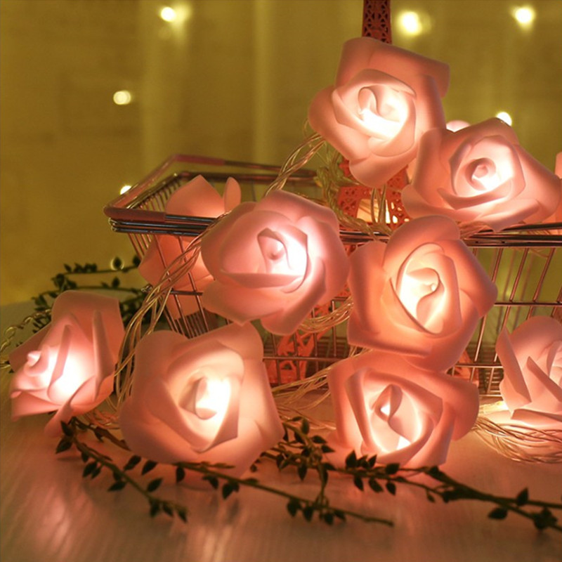 USB or Battery Rose Type Powered String LED Light Strip Lamp Lawn Romantic Wedding  Holiday lighting Christmas Party Decoration