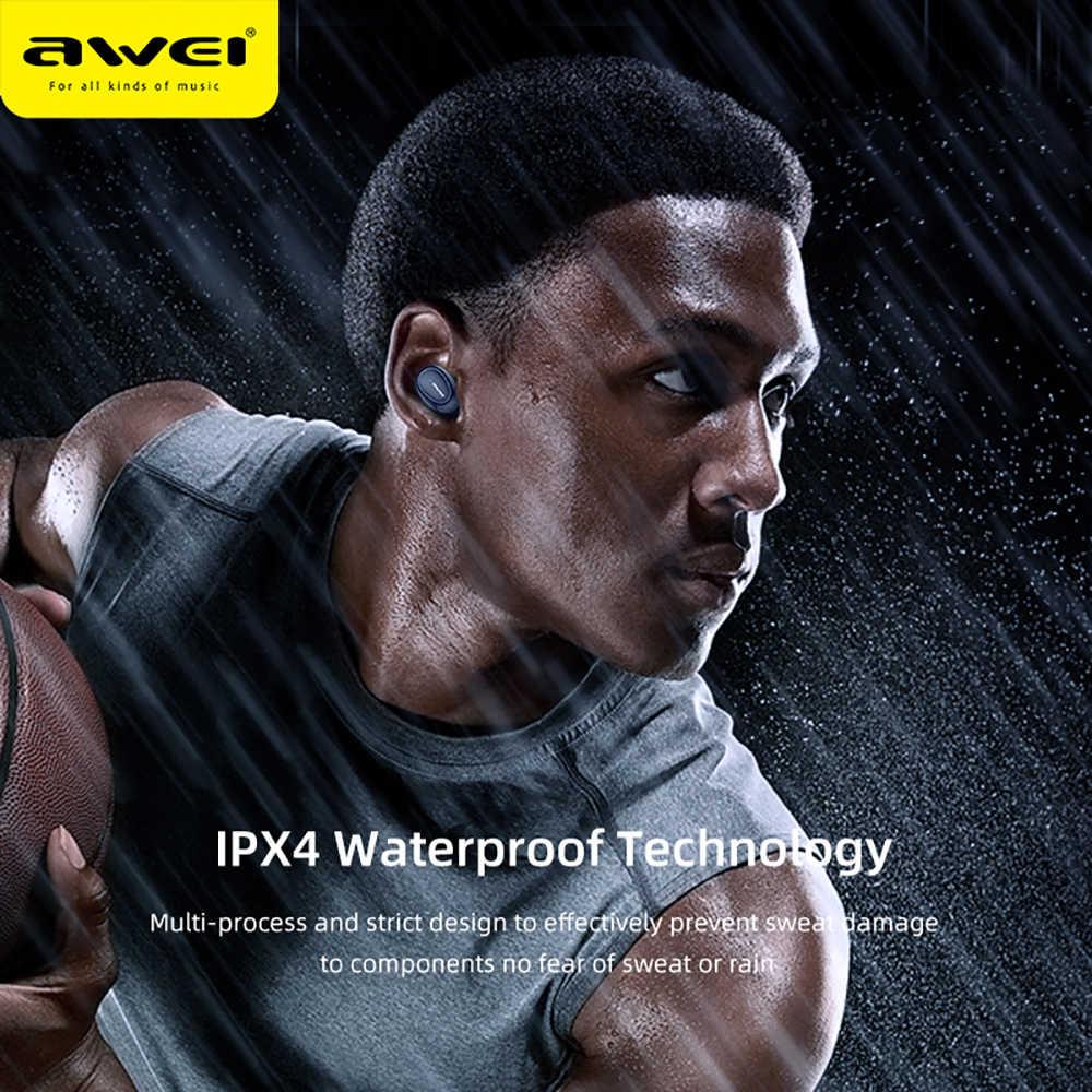 Awei T16 tws 耳芽ワイヤレス充電イヤホン自動接続の bluetooth ヘッドフォン xiaomi redmi huawei 社の iphone