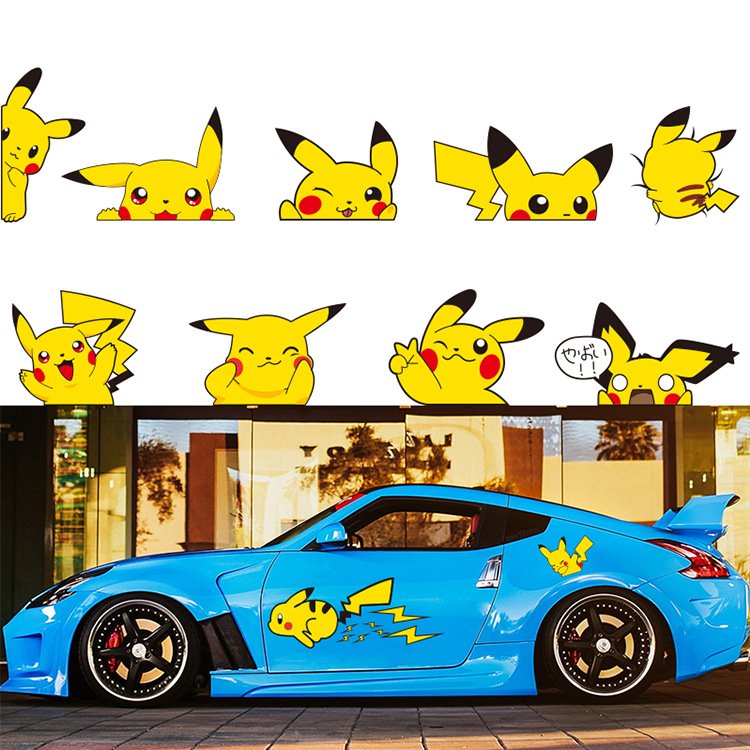 1 Pair Car Styling Creative Pikachu Pokemon Car Stickers Lovely Cartoon Animal Pet Stickers Auto Decal Car Body Cute Pattern