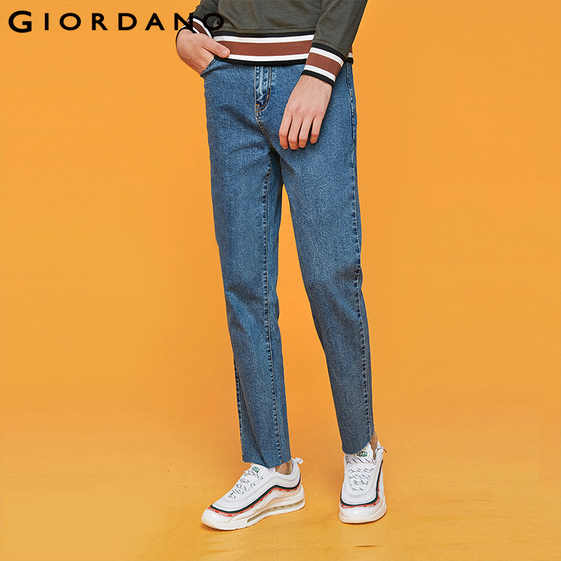 Giordano Men Thickened Denim Jeans Washed Design Mid Rise Denim Men Jeans Five Pockets Durable Quality Pants Hombre 01119092