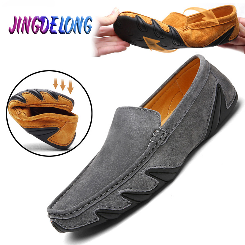 Genuine Leather Men Casual Shoes  Fashion Simple Design Soft Wearable Comfortable Men Slip On Shoes Moccasins Men Loafers