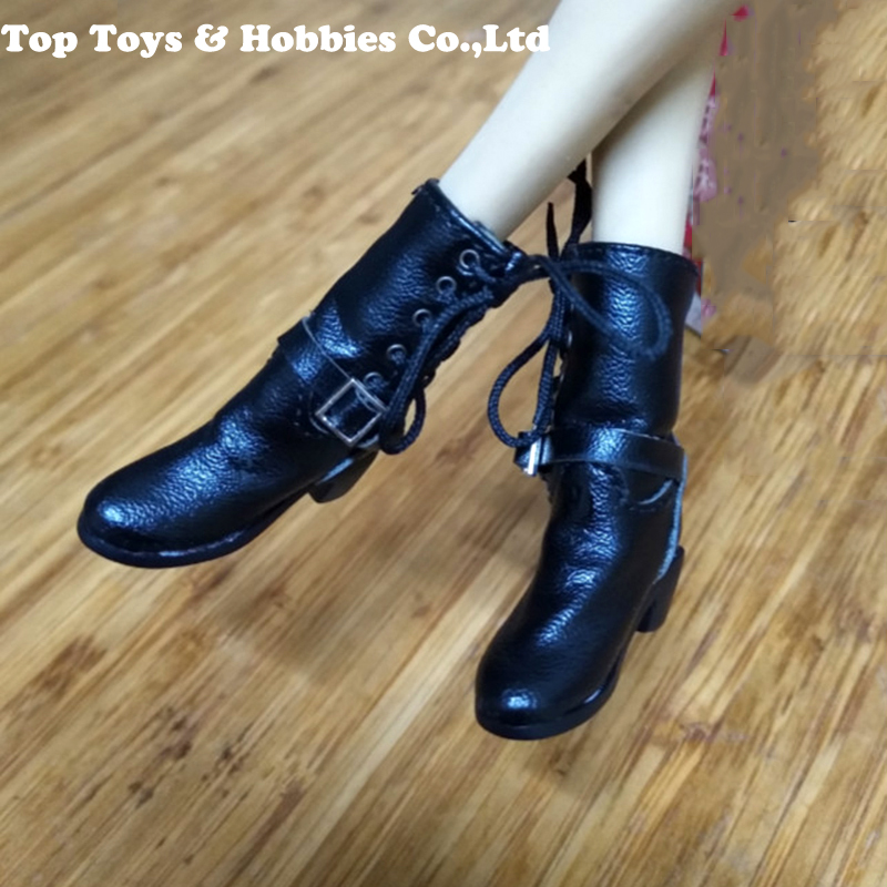1/6 Female Soldier High Heels Handmade Black Leather Boots Solid Inside Shoes Fit For 12