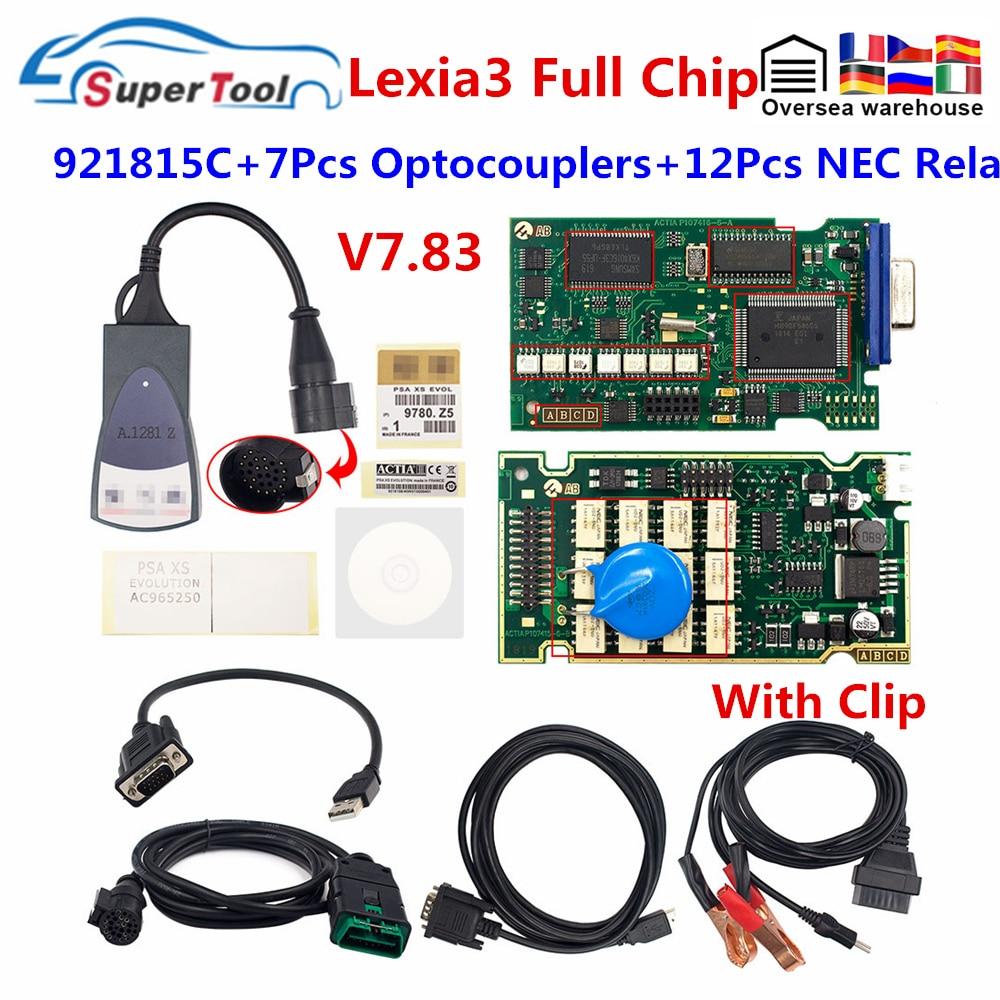 Ferramenta de diagnóstico automotivo obd2, lexia 3, chip completo, pp2000, lexia3 diagbox v7.83, arma 921815c, lexia3, para citroen/peugeot código scanner