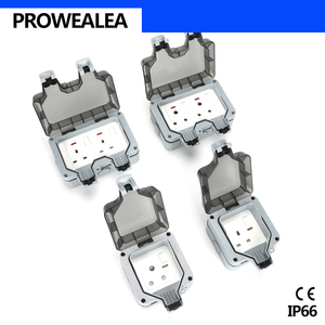 Image 5 - Weatherproof Socket IP66 USB Double 5Hole Standard Switch Waterproof Socket Outdoor Wall Power Socket Electrical Outlet Grounded