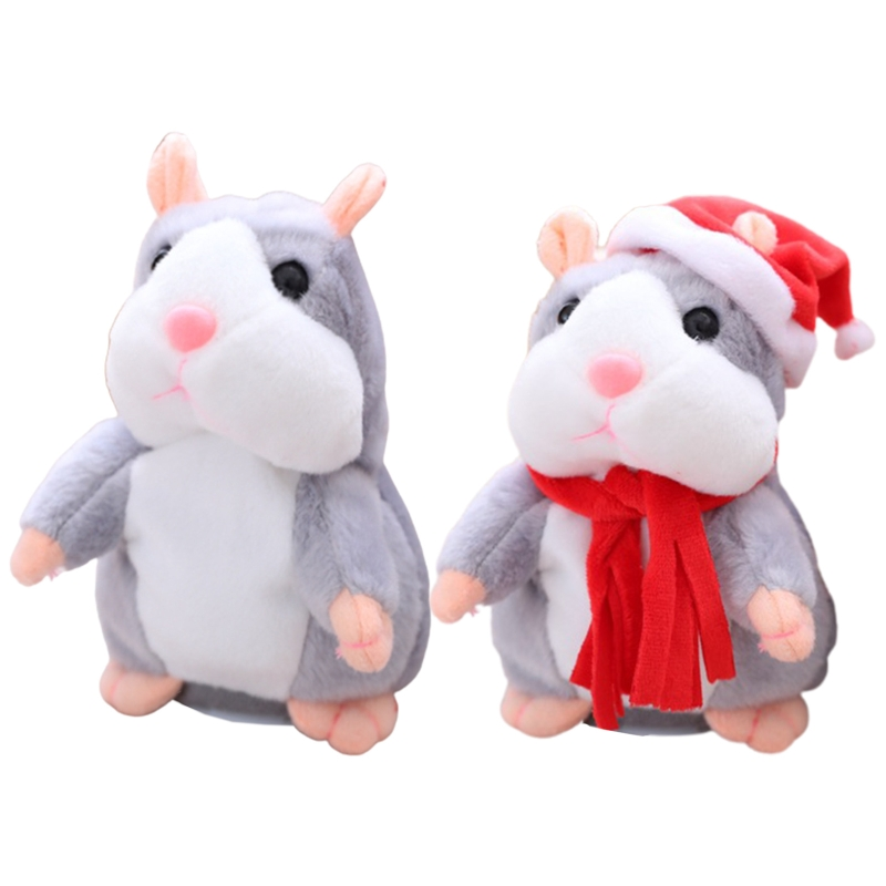Talking hamster repeats what you say imitating behaviors, pet plush toys, electronic mouse interactive toys for friends