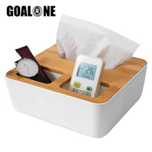 GOALONE Multifunction Storage Tissue Box Bamboo Wooden Cover Storage Organizer Remote Control Holder Napkin Case for Home Office