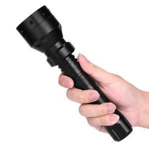 Image 1 - ציד לפיד שחור 850nm IR ראיית לילה פנס ארוך טווח אינפרא אדום 10W T50 LED ציד אור ראיית לילה לפיד 18650