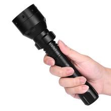 Linterna de caza negra de 850nm IR, linterna de visión nocturna infrarroja de largo alcance, luz LED de caza T50 de 10W, foco de visión nocturna 18650