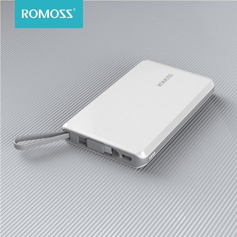 Romoss qs05 power bank 5000mah com built-in micro usb cabo powerbank portátil carregador de bateria externa para iphone xiaomi mi 9