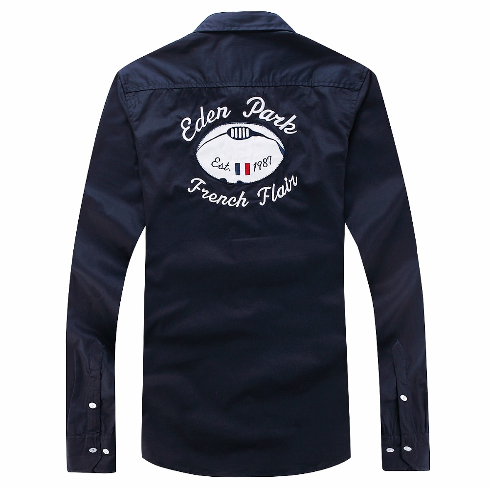 Eden Park France Brand Shirt Men's Best Quality Homme Trend Shirt Long Sleeve Dress Social Embroidery Business Shirts M-3XL