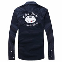 Eden Park France Brand Shirt Men's Best quality Homme trend Shirt long sleeve dress social embroidery business shirts M 3XL