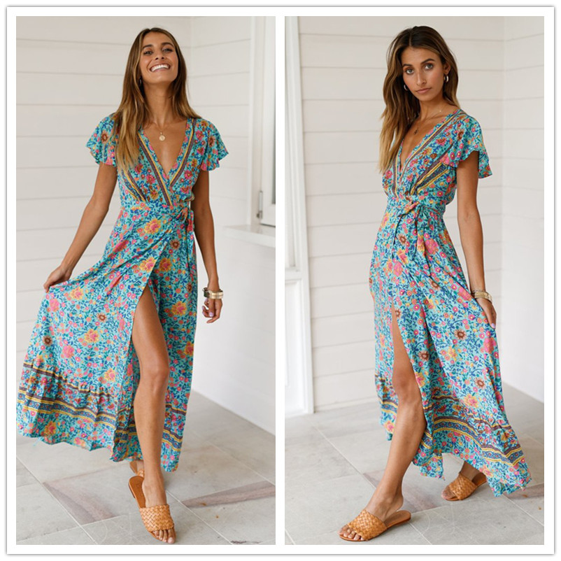 Maxi Dresses For Women Print V-neck Short Sleeve Elastic Waist Tie  Female Dress Summer Dresses Vintage Floral Dress Long Dress