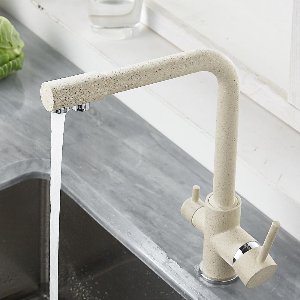 Kitchen Filtered Faucet Balck With Dot Brass Purifier Faucet Dual Sprayer Drinking Water Tap Vessel Sink Mixer Tap Torneira