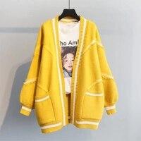 Cardigan lavorato a maglia manica lunga lanterna ispessita autunno nuovo stile coreano moda sciolto morbido ceroso bordo grezzo lettera maglione giacca