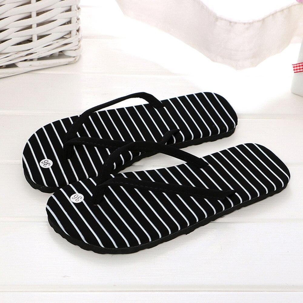 Womens Flip Flops 2020 Beach Sandals black white spot Stripes Casual Flat-heeled Sandals indoor & outdoor Women Slippers A50
