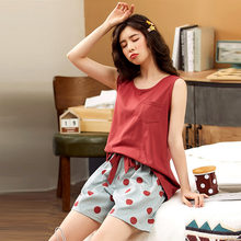 Новый жилет пижамы для женщин летние хлопковые шорты без рукавов