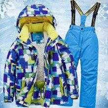 Новые лыжные костюмы для мальчиков и девочек, теплые водонепроницаемые детские лыжные куртки для сноубординга+ штаны, зимний детский лыжный комплект одежды