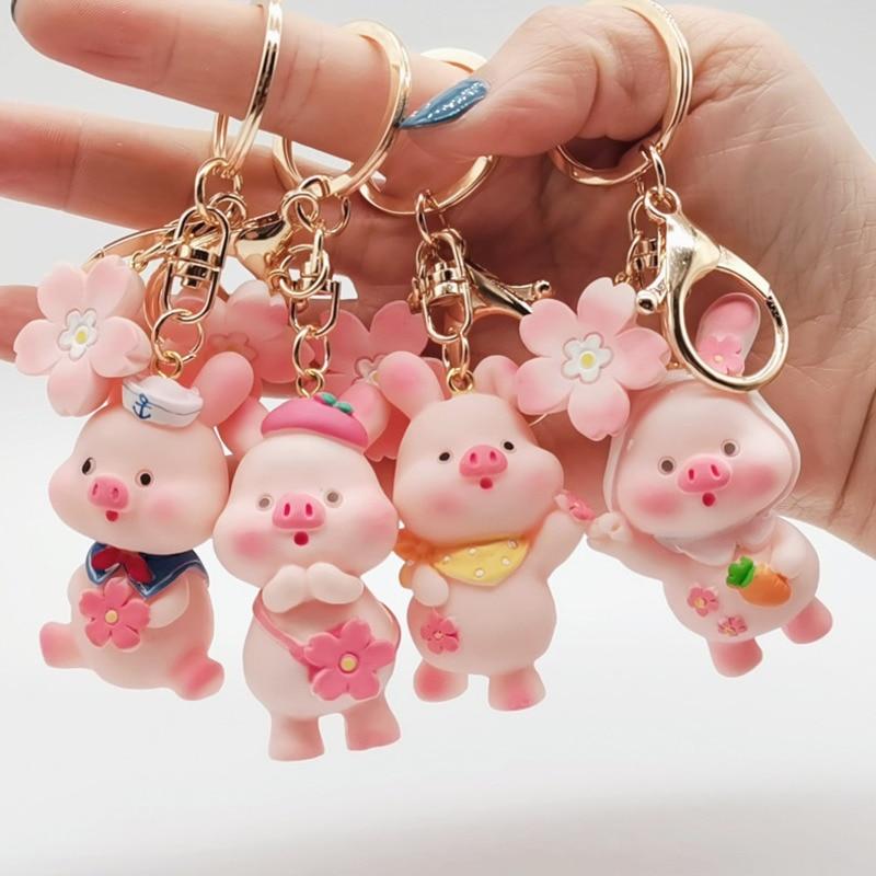 Cartoon Three-dimensional Pink Piggy Keychain Car Key Ring Student Cute Bag Mobile Phone Ornaments Girl Decoration Gift