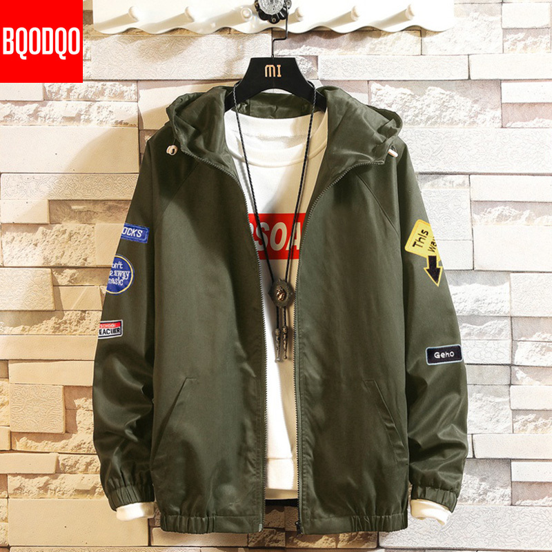 Cotton 5XL Military Jacket For Men Autumn Army Green Fashion Hip Hop Jackets Mens Black Streetwear Print Casual Coat Windbreaker