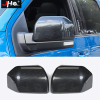 JHO Chrome ABS Carbon Fiber Grain Side Rear View Mirror Cover Cap Overlay For Ford F150 Raptor 2016 2020 2018 2017 2019 XLT