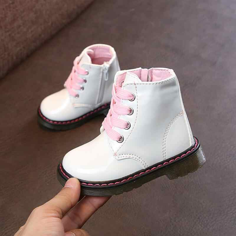 SKHEK new winter children's shoes princess PU Leather girls anti slip foot warmer Fashion Snow Martin boots 2-6 years old.