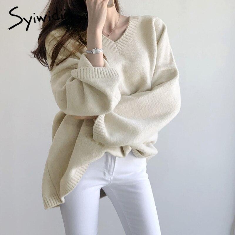 Syiwidii-pull en cachemire pour femmes, surdimensionné, top coréen, col en V, ample tricoté, hiver, pulls décontractés, 2020