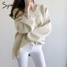 Syiwidii – pull surdimensionné en cachemire pour femme, haut coréen solide, col en V, ample, tricoté, hiver, 2020