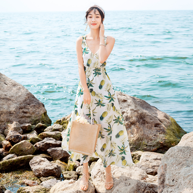 Summer Thailand Bali Beach Skirt Seaside Holiday Backless Camisole Chiffon Dress Super Fairy Slimming Long Skirts