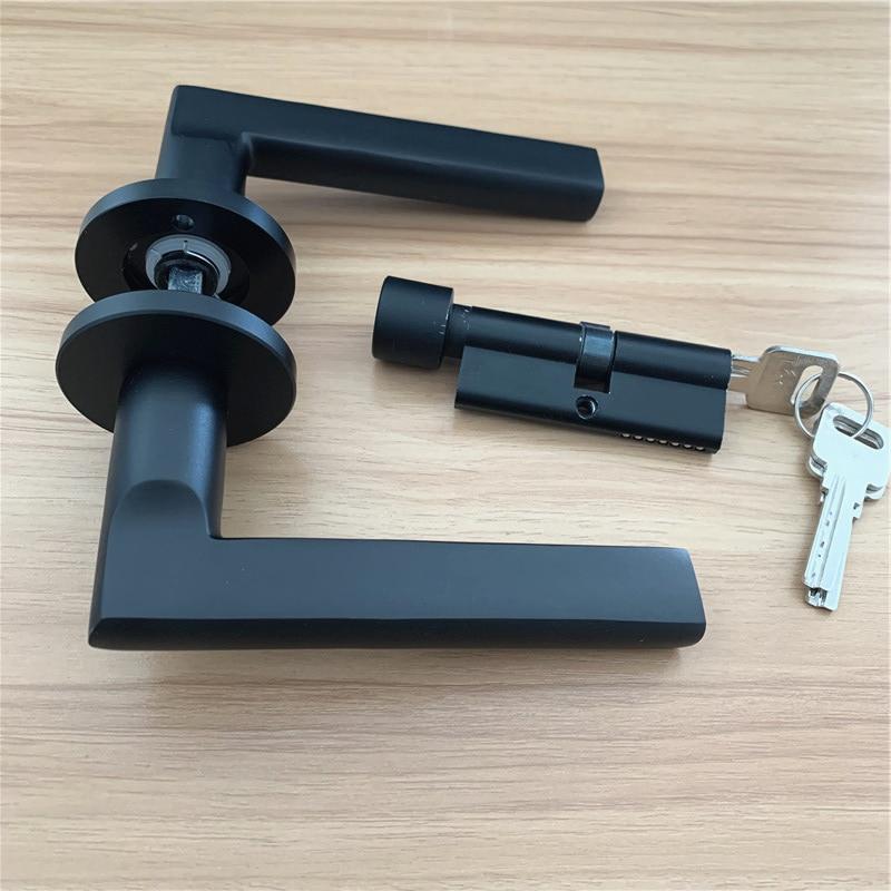 LCH Modern Style Aluminium Alloy Matte Black Door Handle DOOR KNOB WITH Lock Keys DOOR Pull Hardware Furniture Pull